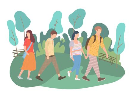 Walking young people. Men and women in colorful clothes in different poses stand and go about their business. Vector illustration  イラスト・ベクター素材