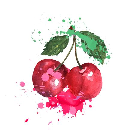Two red cherries are splashed with watercolors on a white background. Bright sweet color. Sweet fruit.