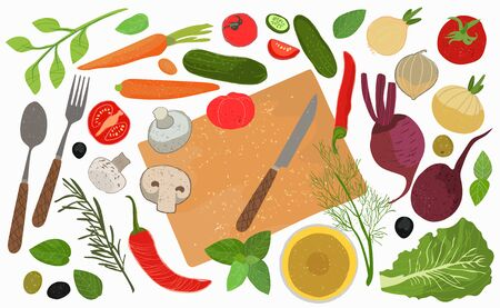 A set of elements for cooking. Vegetables whole and in pieces, Cutlery spoon, knife and fork, sunflower oil, herbs. Vector illustration .