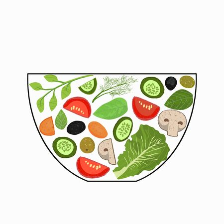 Sliced vegetables in a salad bowl. A set of elements for cooking. Vegetables in pieces, herbs. Vector illustration. The concept of cooking.