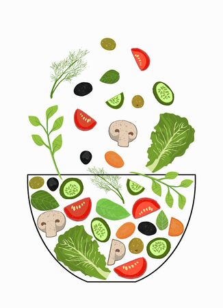 Sliced vegetables falling into a salad bowl. A set of elements for cooking. Vegetables in pieces, herbs. Vector illustration. The concept of cooking.