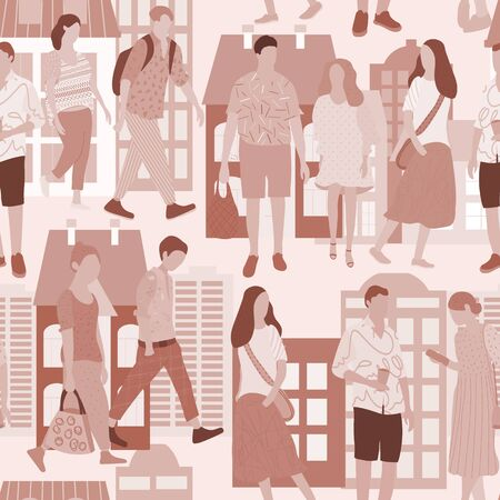Monochrome seamless pattern with walking young people. Men and women intexture clothes in different poses stand and go about their business. Vector