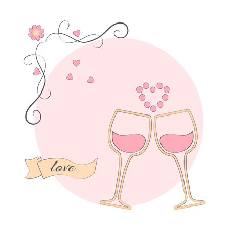 Wine or champagne in glasses on a pink background, vector illustration