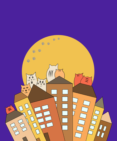 Cats on rooftops with moon background, vector illustration