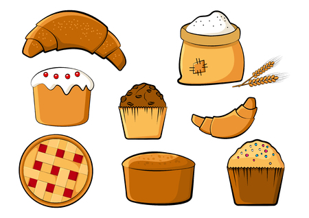 Bakery colored set, vector illustration
