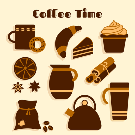 anise: Colorful set on coffee theme, flat design, vector illustration