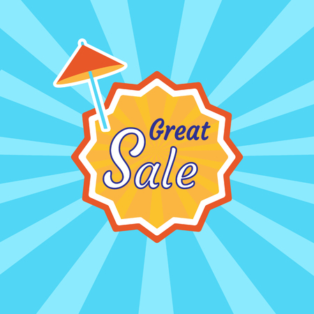 Colored label for Great sale, vector illustration