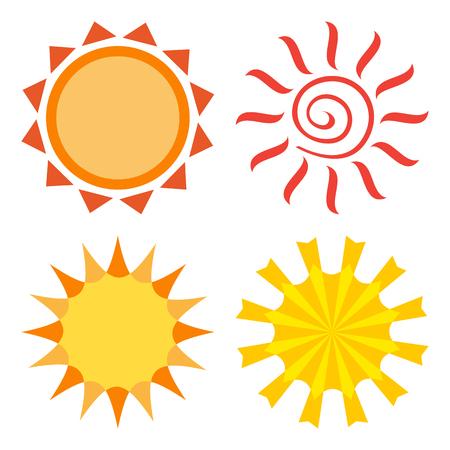Sun, colored set, vector illustration Çizim