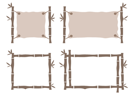 Set bamboo frame template for tropical signboard. Brown frame for your text. Vector illustration