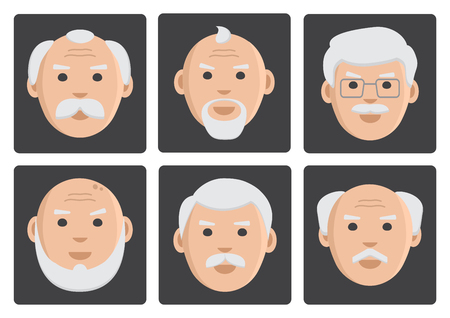 invalid: Flat set of old men on gray background, avatar, vector illustration
