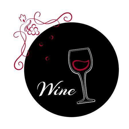Glass of wine on black background. Outline wine logo design. Vector illustration.
