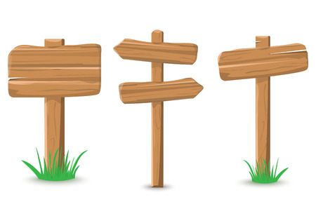 Cartoon colored wooden sign, vector illustration