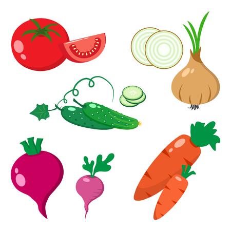 Colorful set of vegetables, flat design, vector illustration