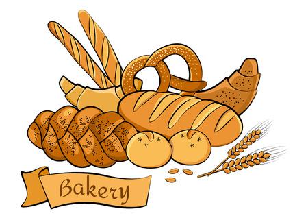 パン屋さんセットを着色、ベクトル イラスト