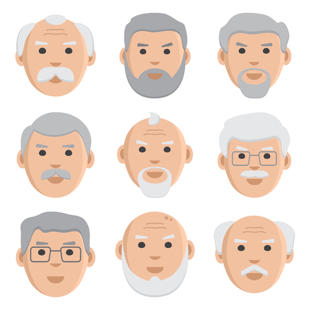 Flat set of old men, avatar, vector illustration Ilustração