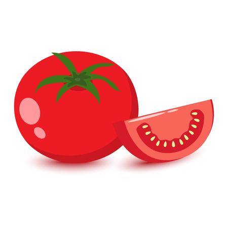 Cartoon colored tomato, flat design, vector illustration