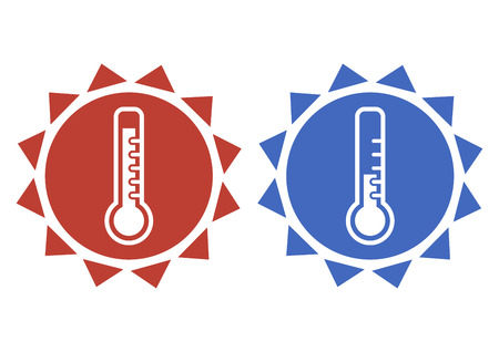 Thermometer icons in red and blue colors. Thermometer for heat and cold weather. Vector illustration