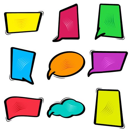 humor: Colorful set dialog box, banner set. Comics empty bubble. Vector illustration. Illustration