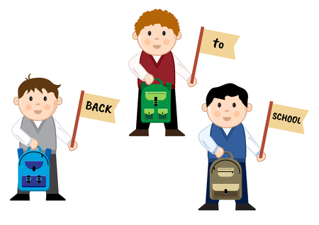 Schoolboys with backpacks and flags with text back to school, vector illustration
