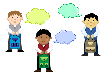 Different schoolboys with backpacks and dialog box, color set, vector illustration