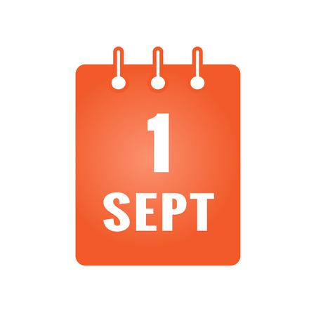 1. September Kalender farbigen Symbol. Zurück zur Schule. Vektor-Illustration Standard-Bild - 83543998