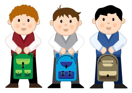 Pupils with backpacks, vector illustration Illustration