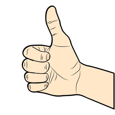 Thumb Up illustration. Hand-drawn. Vector.