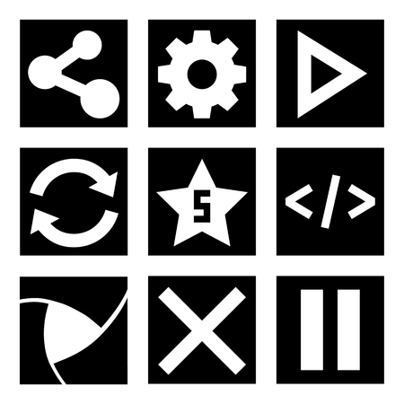 pause button: Black and white menu icon set, vector illustration