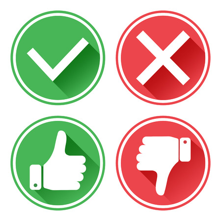 Set red and green icons. Thumb up and down. I like and dislike. Yes and no. Vector illustration.