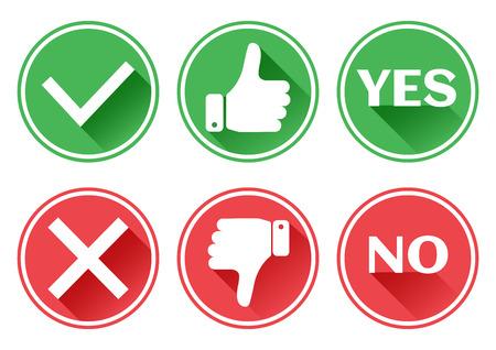 Establecer iconos rojos y verdes. Pulgar arriba y abajo. Me gusta y no me gusta. Si y no. Ilustración del vector. Ilustración de vector
