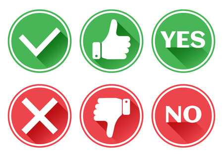 Set red and green icons. Thumb up and down. I like and dislike. Yes and no. Vector illustration. Фото со стока - 84134754