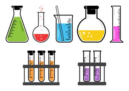 reagent: Colorful set chemical vessels. Vector illustration Illustration