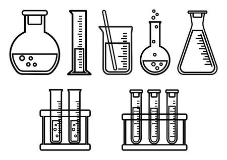 Set chemical vessels. Outline design. Vector illustration