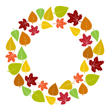 leafed: Colorful round frame and background of autumn leaves for your text. Vector illustration