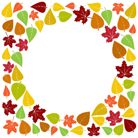 Colorful frame and background of autumn leaves for your text. Vector illustration