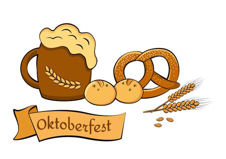 pretzel: Oktoberfest beer festival. Illustration for feast. Vector illustration