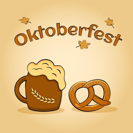 pretzel: Oktoberfest beer festival. Poster for feast. Vector illustration Illustration