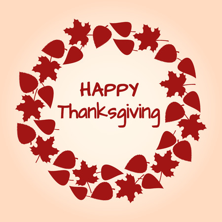 Red round frame and background of autumn leaves for Thanksgiving. Vector illustration.