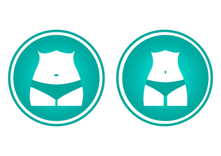 Icons female body silhouette. Fat and slim woman figure, before and after weight loss. Vector illustration