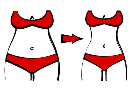 Fat and slim woman figure in a red swimsuit, before and after weight loss. Female body silhouette. Vector illustration