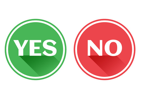 rejection: Set red and green icons buttons. Yes and no. Vector illustration. Illustration