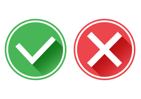 rejection: Set red and green icons buttons. Confirmation and rejection. Yes and no. Vector illustration.