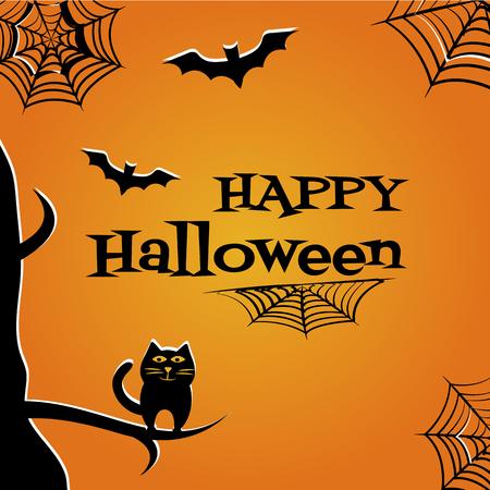 Halloween-achtergrond met zwarte kat, knuppels, spinneweb en inschrijving Gelukkig Halloween. Vector illustratie.
