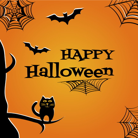 Halloween background with black cat, bats, cobweb and inscription Happy Halloween. Vector illustration.