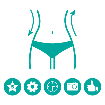 Women waist and icons menu. Silhouette of female figure. Vector illustration Imagens - 87723681