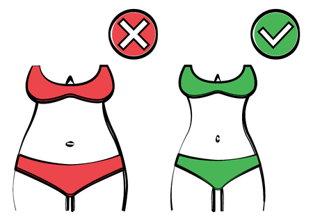 Fat and slim woman figure in swimsuit, red and green, before and after weight loss. Female body silhouette. Vector illustration Illustration
