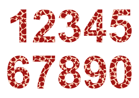 Isolated numbers from 0 to 9.