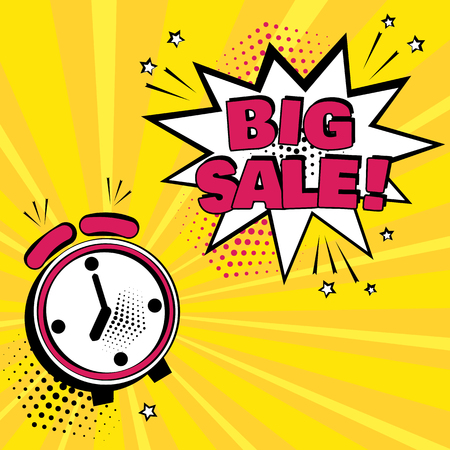 Alarm clock with white comic bubble with BIG SALE.