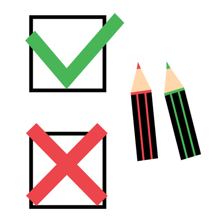 Green check mark and red cross with two pencils. Illustration