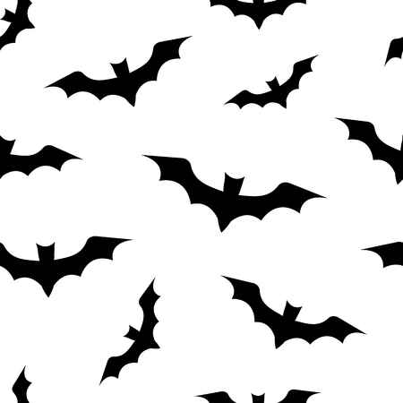 A seamless pattern with bats for Halloween. Black bats on white background. Illustration